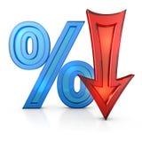 Percentages en pijl Stock Foto's