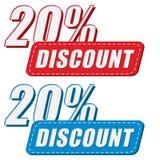 20 percentages kortings in twee kleurenetiketten, vlak ontwerp Stock Fotografie