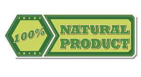 100 percentages natural product - retro green label Stock Photography
