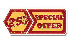 25 percentages off special offer - retro label. 25 percentages off discount special offer - retro style red ocher hexagon and flyer label with text and stars Stock Photos