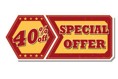 40 percentages off special offer - retro label. 40 percentages off discount special offer - retro style red ocher hexagon and flyer label with text and stars Royalty Free Stock Photography