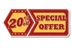 20 percentages off special offer - retro label. 20 percentages off discount special offer - retro style red ocher hexagon and flyer label with text and stars stock image