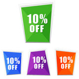10 percentages off, four colors labels. Flat design, business shopping concept Royalty Free Stock Photo
