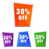 30 percentages off, four colors labels Stock Photos