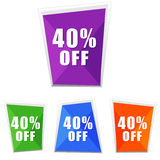 40 percentages off, four colors labels Royalty Free Stock Photo