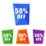 50 percentages off, four colors labels. Flat design, business shopping concept vector illustration