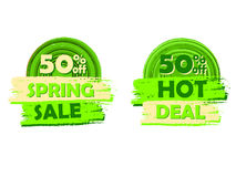 50 percentages off spring sale and hot deal, round drawn labels. 50 percentages off spring sale and hot deal banners - text in green circular drawn labels Stock Image