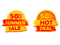50 percentages off summer sale and hot deal with sun signs, draw. 50 percentages off summer sale and hot deal banners - text in yellow and orange drawn labels Stock Photos