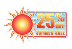 25 percentages off summer sale in label with sun Royalty Free Stock Photo