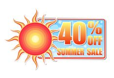 40 percentages off summer sale in label with sun Royalty Free Stock Images
