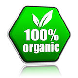 100 percentages organic with leaf sign in green button Royalty Free Stock Photos