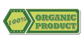 100 percentages organic product - retro green label. 100 percentages organic product - retro style green hexagon and flyer label with text and stars, business Royalty Free Stock Photo