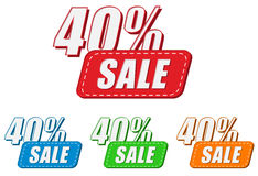 40 percentages sale, four colors labels Royalty Free Stock Image
