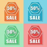 50 percentages sale, four colors web icons. Flat design, business shopping concept vector illustration