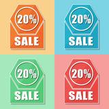 20 percentages verkoop, vier pictogrammen van het kleurenweb Royalty-vrije Stock Foto