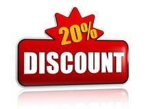 20 percentages voorzien 3d rode banner met ster Royalty-vrije Stock Foto's