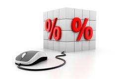 Percentagesymbool en muis Stock Afbeelding