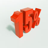 Percentageteken, 15 percenten Stock Foto's