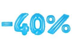 40 percenten, blauwe kleur stock afbeelding