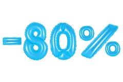 80 percenten, blauwe kleur stock afbeelding