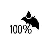 100 percenten maken vectorsymbool waterdicht Stock Foto
