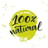 100 percenten natuurlijke groene van letters voorziende sticker met Royalty-vrije Stock Afbeelding