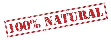 100 percenten natuurlijke zegel op witte achtergrond Stock Foto