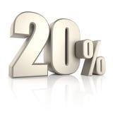 20 percenten op Witte Achtergrond 3d geef terug Stock Fotografie