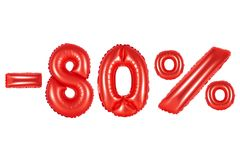 80 percenten, rode kleur royalty-vrije stock foto's