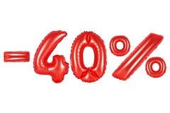 40 percenten, rode kleur royalty-vrije stock afbeelding