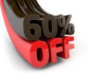 60 percenten van promotieteken Stock Foto