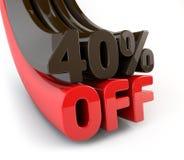 40 percenten van promotieteken Stock Foto