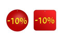 10 percenten van rode stickers op een witte achtergrond Kortingen en verkoop Stock Fotografie