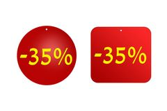 35 percenten van rode stickers op een witte achtergrond kortingen en verkoop, vakantie en onderwijs Stock Foto