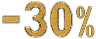 Percenten weg korting Minus 30, dertig, drie, percenten Metaal Stock Foto