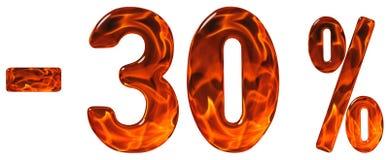 Percenten weg korting Minus 30, dertig percenten, cijfersisola Stock Foto's