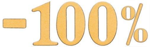 Percenten weg korting Minus 100 honderd percenten, cijfers i Stock Afbeeldingen
