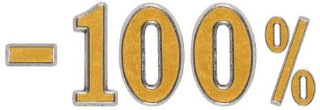 Percenten weg korting Minus 100, honderd, percenten Metaal n Stock Foto