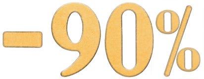 Percenten weg korting Minus 90 negentig percenten, isoleren de cijfers Stock Foto's