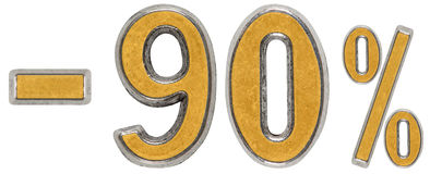 Percenten weg korting Minus 90, negentig, percenten Metaalcijfer Stock Afbeelding