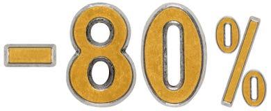 Percenten weg korting Minus 80, tachtig, percenten Metaalcijfer Stock Foto