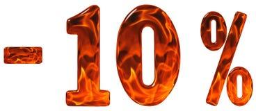 Percenten weg korting Minus 10, tien percenten, geïsoleerde cijfers Stock Afbeeldingen