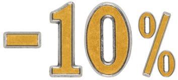 Percenten weg korting Minus 10, tien, percenten Metaalcijfer, royalty-vrije stock foto's