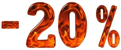 Percenten weg korting Minus 20, twintig percenten, cijfersisola stock afbeelding