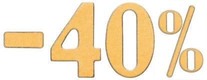 Percenten weg korting Minus 40 veertig percenten, geïsoleerde cijfers Royalty-vrije Stock Afbeeldingen