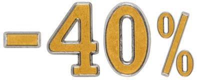 Percenten weg korting Minus 40, veertig, percenten Metaalcijfer, Royalty-vrije Stock Fotografie