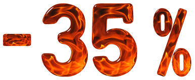 Percenten weg korting Minus 35, vijfendertig percenten, cijfers Royalty-vrije Stock Foto's