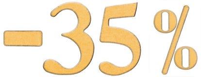 Percenten weg korting Minus 35 vijfendertig percenten, is de cijfers Stock Afbeelding