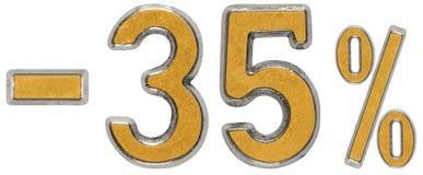 Percenten weg korting Minus 35, vijfendertig, percenten Metaal nu Stock Afbeelding