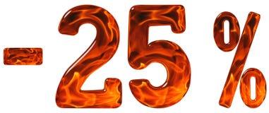 Percenten weg korting Minus 25, vijfentwintig percenten, cijfers Royalty-vrije Stock Afbeeldingen